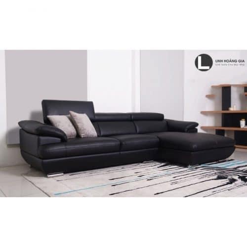 Sofa da màu đen L49