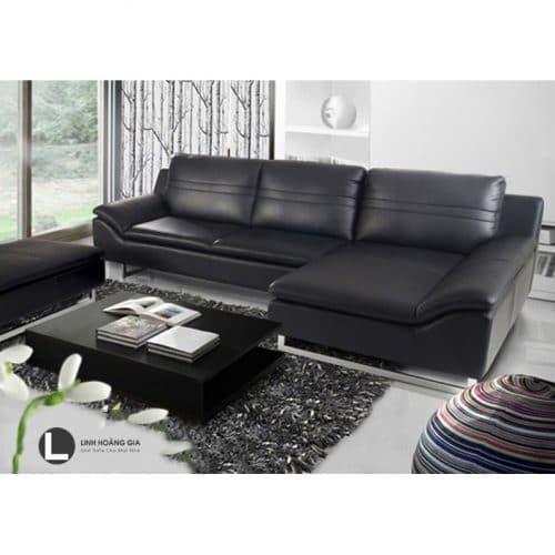 Sofa da màu đen L50