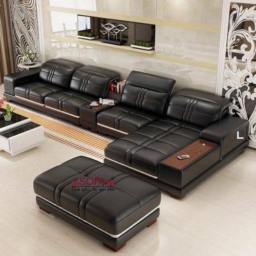 Sofa da cao cấp L47 đen