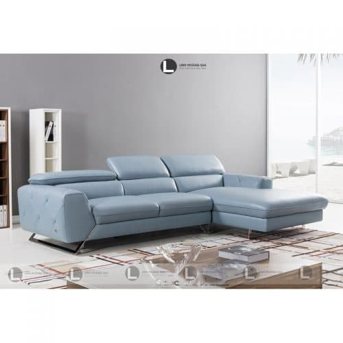 Sofa da màu xanh L52