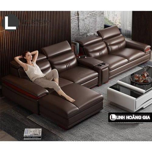 Sofa phòng khách lớn L66 ( màu nâu)