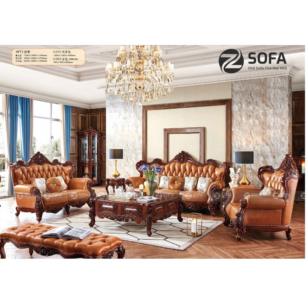 Sofa Tân Cổ Điển Da Bò CD-SF71