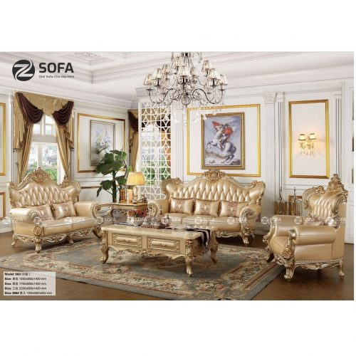 Sofa Da Bò Cổ Điển CD-1862 – Bộ 3 Ghế