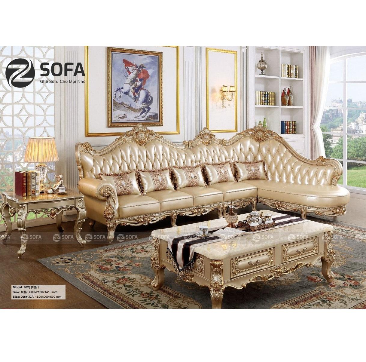 Sofa Da Bò Cổ Điển CD-L862